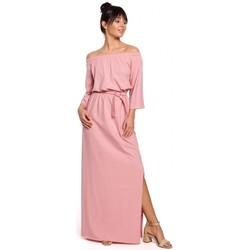 Textil Ženy Společenské šaty Be B146 Maxi šaty na ramínka - růžové