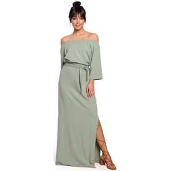 Textil Ženy Společenské šaty Be B146 Maxi šaty na ramínka - pistáciová barva