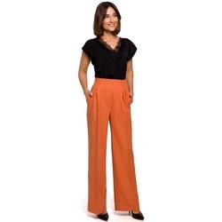 Textil Ženy Turecké kalhoty / Harémky Style S203 Palazzo kalhoty s pružným pasem - oranžové