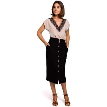 Textil Ženy Halenky / Blůzy Style S206 Top bez rukávů s krajkovým výstřihem - černý