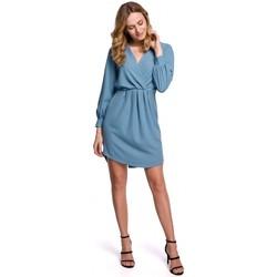 Textil Ženy Krátké šaty Makover K044 Přehozené šaty - nebesky modré