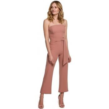 Textil Ženy Overaly / Kalhoty s laclem Makover K045 Kombinéza Bandeau top - růžová