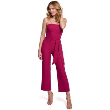 Textil Ženy Overaly / Kalhoty s laclem Makover K045 Kombinéza Bandeau top - švestka