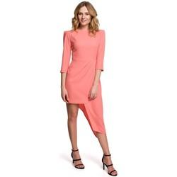 Textil Ženy Krátké šaty Makover K047 Asymetrické pouzdrové šaty - oranžové