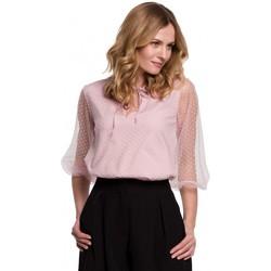 Textil Ženy Halenky / Blůzy Makover K057 Kvítkovaná halenka s puntíky - krepová růžová