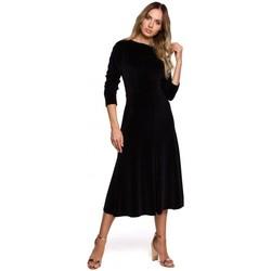 Textil Ženy Společenské šaty Moe M557 Sametové midi šaty s nabíranými rukávy - černé