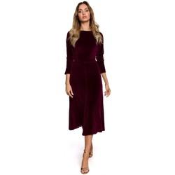 Textil Ženy Společenské šaty Moe M557 Sametové midi šaty s nabíranými rukávy - bordó