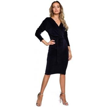 Textil Ženy Krátké šaty Moe M561 Sametové zavinovací šaty - tmavě modré