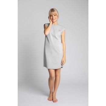 Textil Ženy Krátké šaty Lalupa LA033 Bavlněné žebrované šaty na spaní - světle šedé