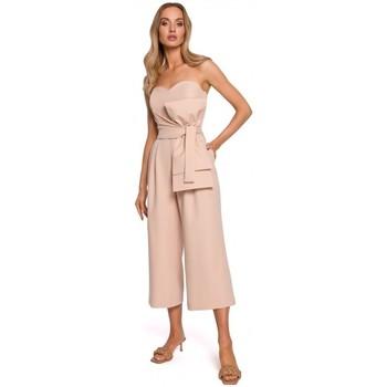 Textil Ženy Overaly / Kalhoty s laclem Moe M571 Kombinéza bez ramínek - béžová