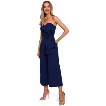 Textil Ženy Overaly / Kalhoty s laclem Moe M571 Kombinéza bez ramínek - tmavě modrá