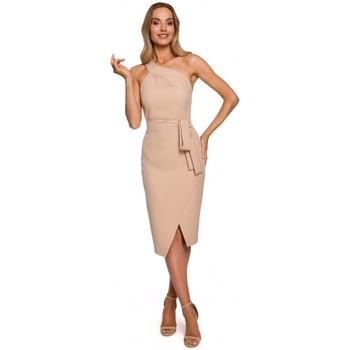 Textil Ženy Společenské šaty Moe M572 Šaty na jedno ramínko - béžové