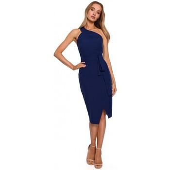 Textil Ženy Společenské šaty Moe M572 Šaty na jedno ramínko - tmavě modré