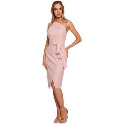 Textil Ženy Společenské šaty Moe M572 Šaty s jedním ramínkem - pudrové