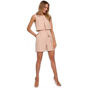 Textil Ženy Overaly / Kalhoty s laclem Moe M574 Dvouvrstvý overal bez rukávů - béžový