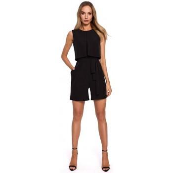 Textil Ženy Overaly / Kalhoty s laclem Moe M574 Dvouvrstvý overal bez rukávů - černý