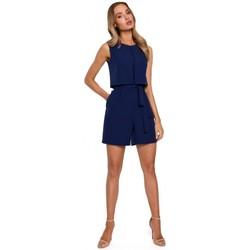 Textil Ženy Overaly / Kalhoty s laclem Moe M574 Dvouvrstvý overal bez rukávů - tmavě modrý