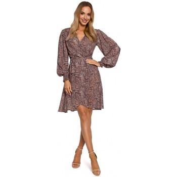 Textil Ženy Krátké šaty Moe M576 Zavinovací šaty s biskupskými rukávy - model 1