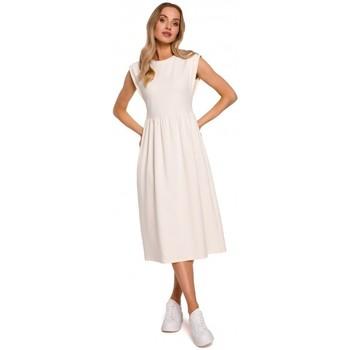 Textil Ženy Společenské šaty Moe M581 Šaty bez rukávů s vysokým pasem - krémové