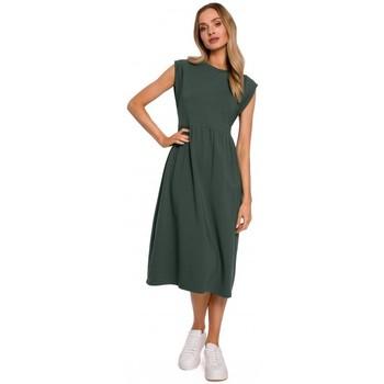 Textil Ženy Společenské šaty Moe M581 Šaty bez rukávů s vysokým pasem - vojensky zelené