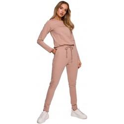 Textil Ženy Overaly / Kalhoty s laclem Moe M583 Úpletový overal s kapsami - mocca