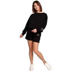 Textil Ženy Kraťasy / Bermudy Be B186 Šortky s výšivkou - černé