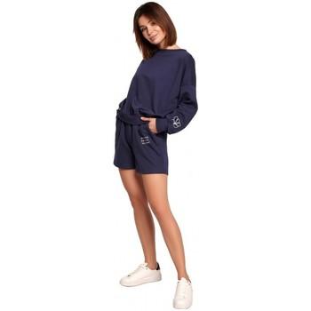 Textil Ženy Kraťasy / Bermudy Be B186 Šortky s výšivkou - modré