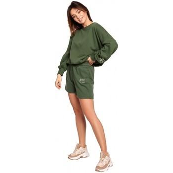 Textil Ženy Kraťasy / Bermudy Be B186 Šortky s výšivkou - trávově zelené