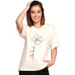 Textil Ženy Halenky / Blůzy Be B187 Tričko s květinovým potiskem - krémové