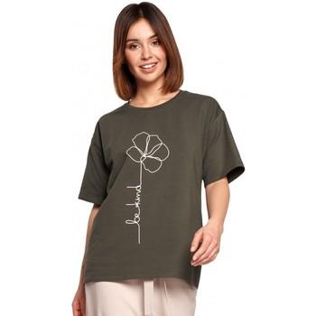 Textil Ženy Halenky / Blůzy Be B187 Tričko s květinovým potiskem - vojensky zelené
