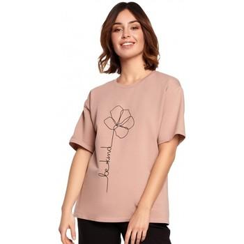 Textil Ženy Halenky / Blůzy Be B187 Tričko s květinovým potiskem - mocca