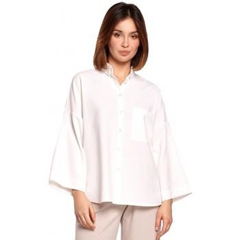 Textil Ženy Košile / Halenky Be B191 Košile nadměrné velikosti s límečkem - bílá