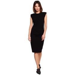 Textil Ženy Krátké šaty Be B193 Přiléhavé šaty s řasením na bocích - černé