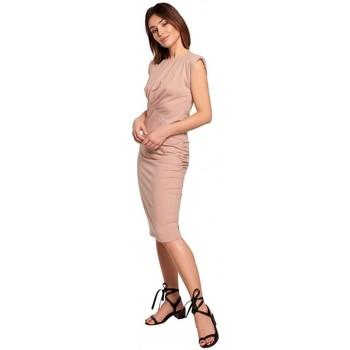 Textil Ženy Krátké šaty Be B193 Přiléhavé šaty s řasením na bocích - mocca