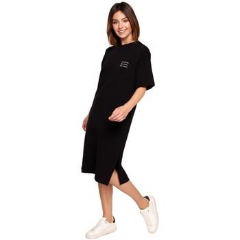 Textil Ženy Krátké šaty Be B194 Tričkové šaty uvolněného střihu - černé