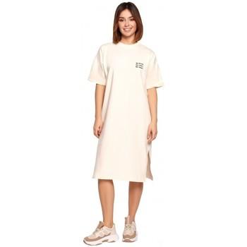 Textil Ženy Krátké šaty Be B194 Tričkové šaty uvolněného střihu - krémové