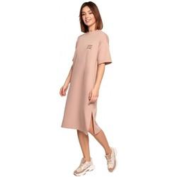 Textil Ženy Krátké šaty Be B194 Tričkové šaty uvolněného střihu - mocca