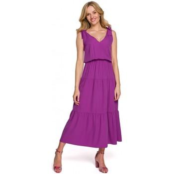 Textil Ženy Společenské šaty Makover K092 Šaty na ramínka - švestka