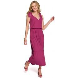 Textil Ženy Společenské šaty Makover K092 Šaty na ramínka - nebesky modré