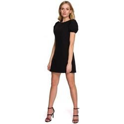 Textil Ženy Krátké šaty Makover K095 Mini šaty s pouzdrovými rukávy - krepové růžové