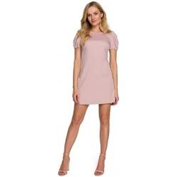 Textil Ženy Krátké šaty Makover K095 Mini šaty s pouzdrovými rukávy - ecru barva