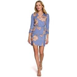 Textil Ženy Krátké šaty Makover K096 Mini šaty se zavinovacím vrškem - model 2