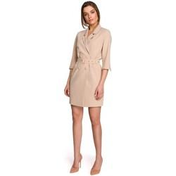 Textil Ženy Krátké šaty Style S254 Blejzrové šaty s páskem s přezkou - černé