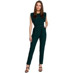 Textil Ženy Overaly / Kalhoty s laclem Style S259 Kombinéza bez rukávů s vycpanými rameny - pudrová