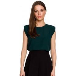 Textil Ženy Halenky / Blůzy Style S260 Halenka bez rukávů s vycpanými rameny - zelená