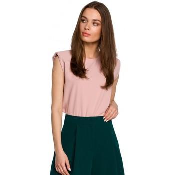 Textil Ženy Halenky / Blůzy Style S260 Halenka bez rukávů s vycpanými rameny - pudrová