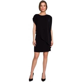 Textil Ženy Krátké šaty Style S262 Vrstvené šaty - černé