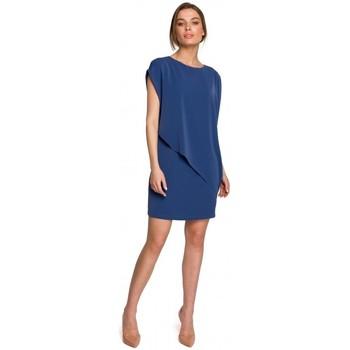 Textil Ženy Krátké šaty Style S262 Vrstvené šaty - modré