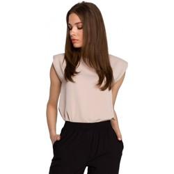 Textil Ženy Halenky / Blůzy Style S260 Halenka bez rukávů s vycpanými rameny - béžová