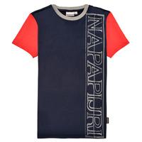Textil Chlapecké Trička s krátkým rukávem Napapijri SAOBAB Tmavě modrá / Červená